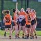 Geelong West Giants female football team enjoy a win.